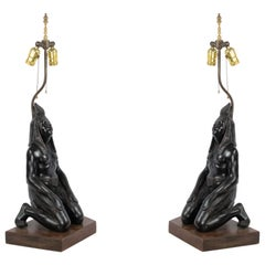 Egyptian Style Ebonized Figural Table Lamps