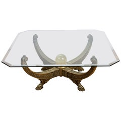 Egyptian Style Glass Topped Coffee Table