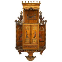 Early 20th Century Egyptian Revival Painted Hanging Wall Cabinet