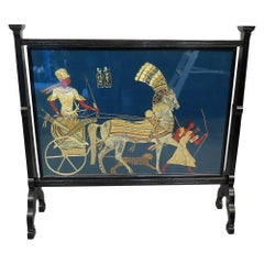 Arts & Crafts Egyptian Tapestry Ebonised Screen circa 1890