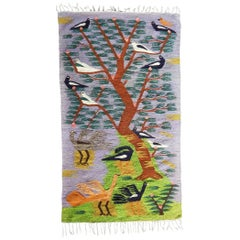 """Egyptian """"Tree of Life"""" Tapestry, Influenced by the Ramses Wissa Wassef Workshop"""