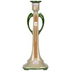 Eichwald Art Nouveau Twin Handled Majolica Pottery Candlestick
