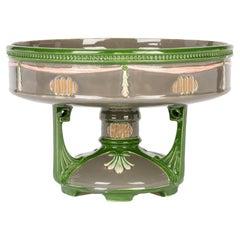 Eichwald Secessionist Majolica Art Pottery Centerpiece Pedestal Bowl