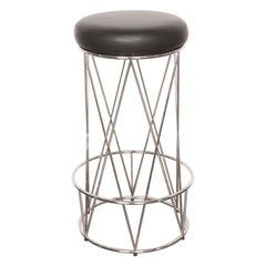 Eiffel, Bar Stool Upholstered Leather Seat with Stainless Steel Structure