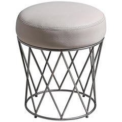Eiffel, Ottoman in Hand Patinated Silver Leaf and Upholstered Seat
