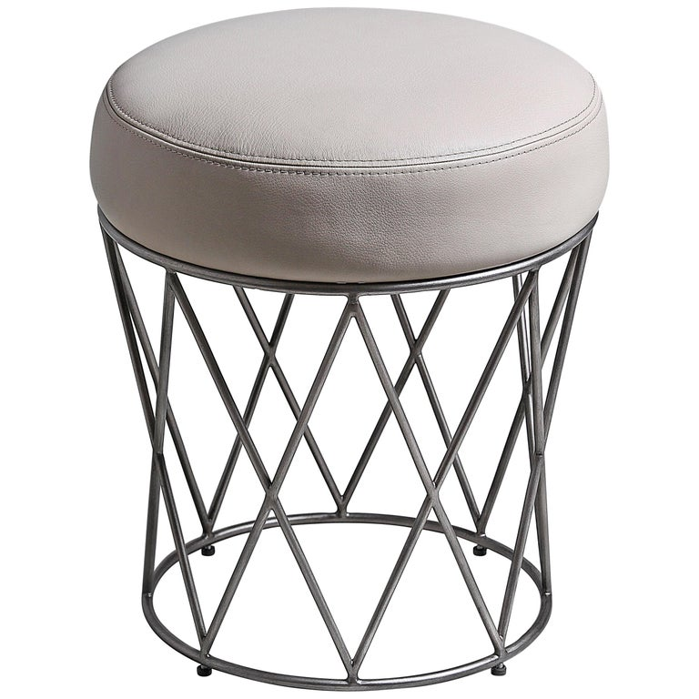 Eiffel, Ottoman in Hand Patinated Silver Leaf and Upholstered Seat For Sale