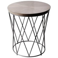 Eiffel, Side Table in Grey Sycamore and Hand Patinated Silver Leaf on Steel