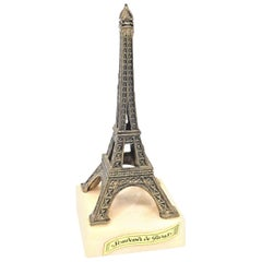 Eiffel Tower French 1930s Souvenir Building Architectural Model on Marble Base