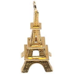 Eiffel Tower Paris France 18 Karat Gold Charm