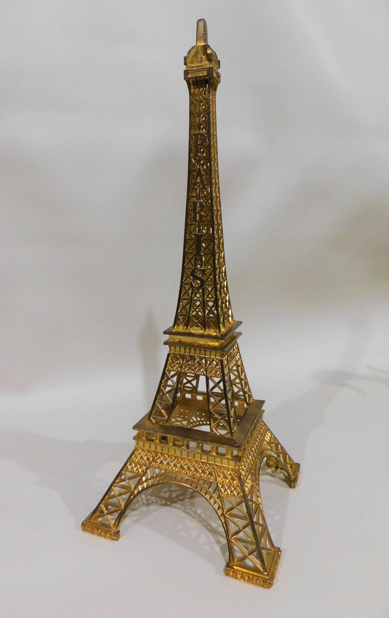 Eiffel Tower Paris France Gilt Metal Display Model Souvenir In Excellent Condition In Hamilton, Ontario