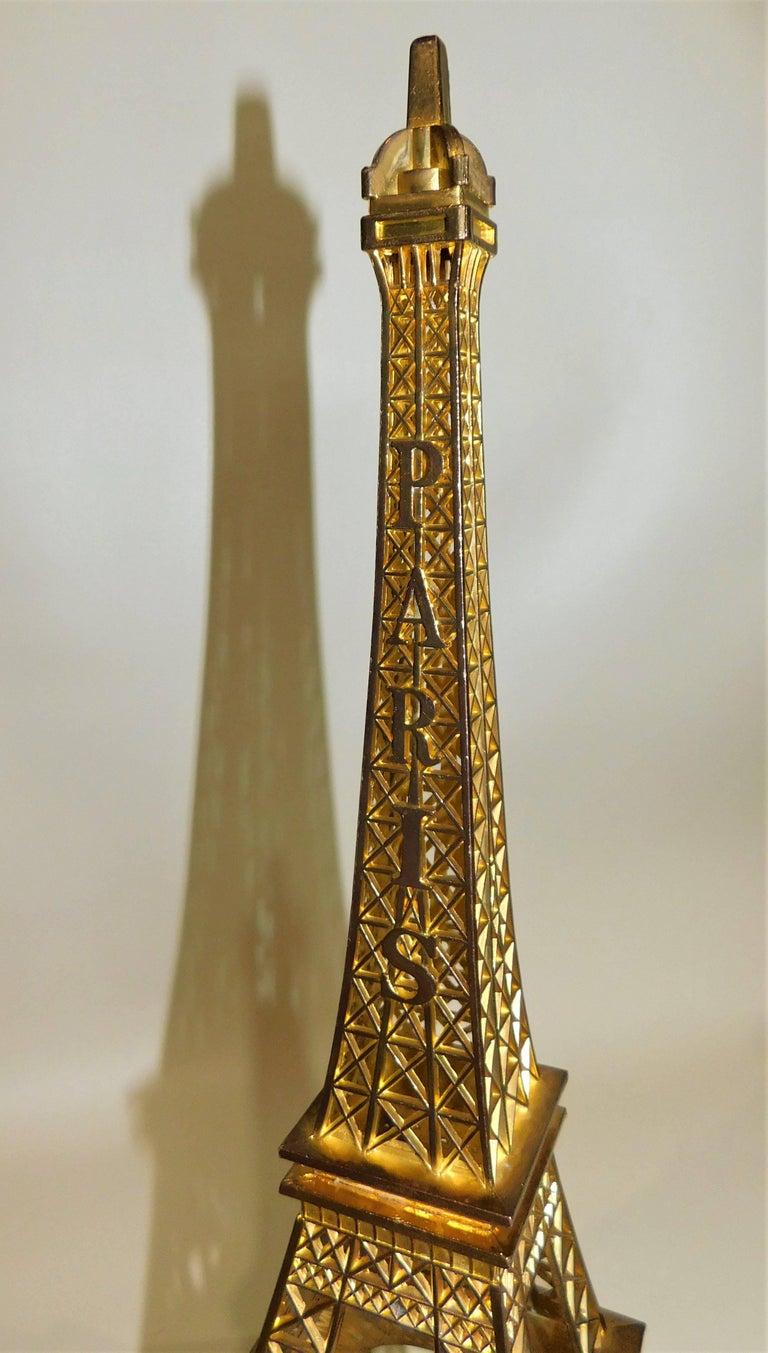 20th Century Eiffel Tower Paris France Gilt Metal Display Model Souvenir