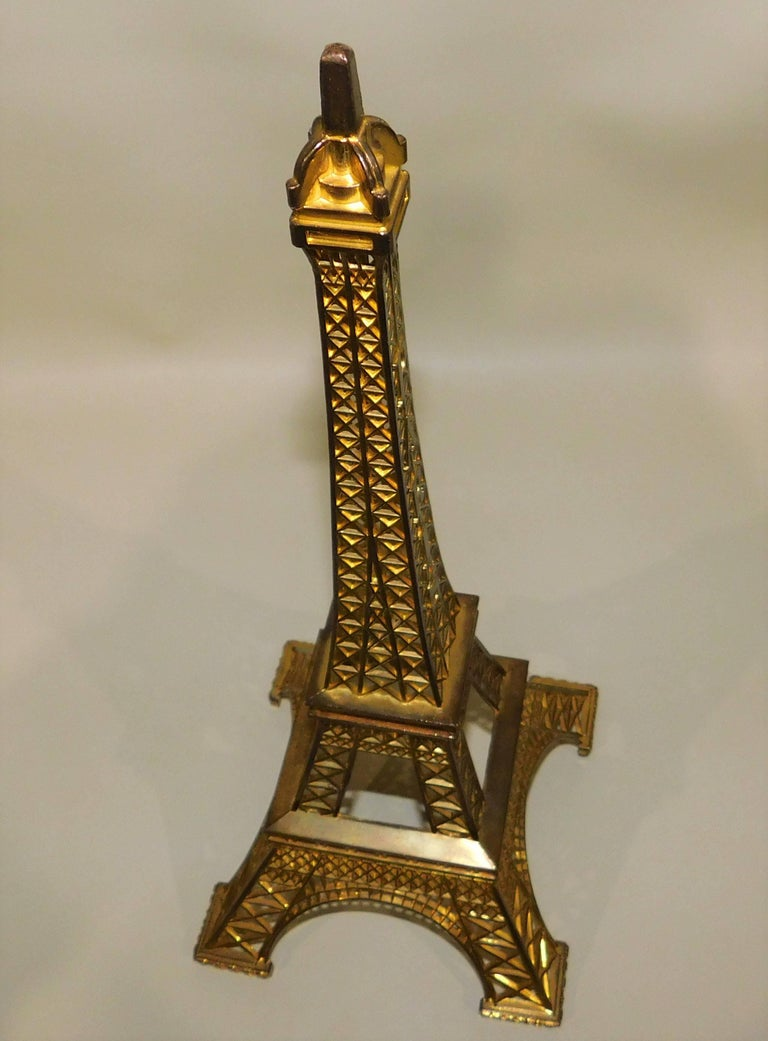 Eiffel Tower Paris France Gilt Metal Display Model Souvenir 1