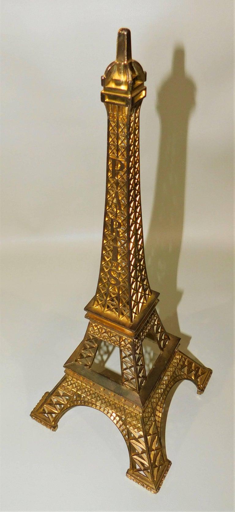 Eiffel Tower Paris France Gilt Metal Display Model Souvenir 2