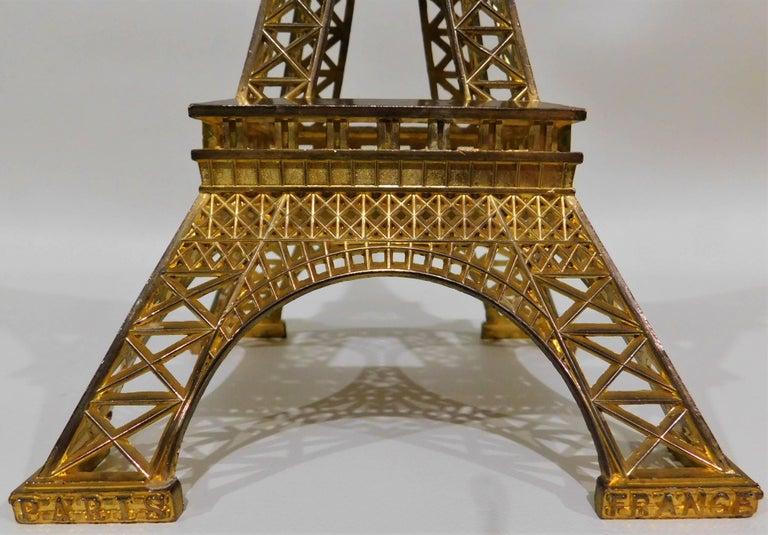 Eiffel Tower Paris France Gilt Metal Display Model Souvenir 3