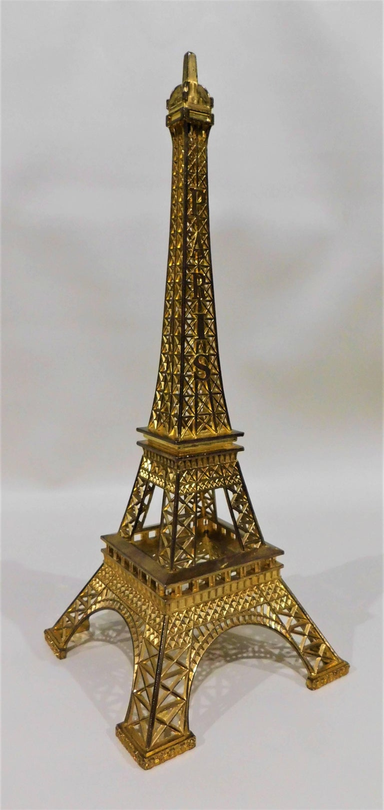 Eiffel Tower Paris France Gilt Metal Display Model Souvenir 4