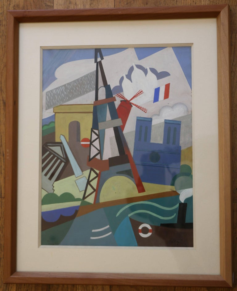 Cubist watercolor on paper attributed to Pal Patzay (1896-1979. Hungarian school, dated 1923 and situated in Paris bottom left, signed bottom right.