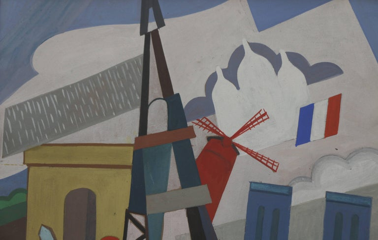 French Eiffel Tower Cubist Painting by Pal Patzay Attributed, Hungarian School, 1923 For Sale