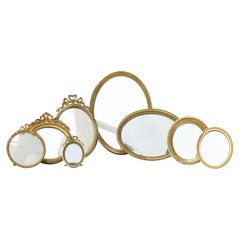 Eight 19th Century French Ormolu Gilt Belle Époque Oval and Round Picture Frames