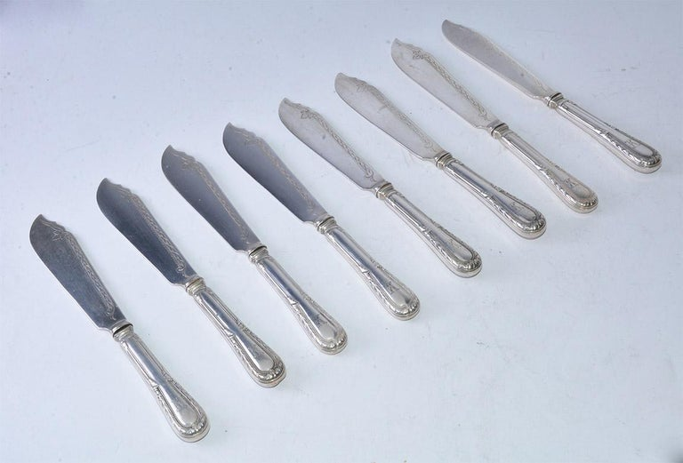 Eight 19th Century French Sterling Fish Forks and Knives In Good Condition For Sale In Great Barrington, MA