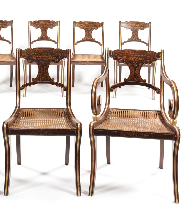 British Eight 19th Century Regency Faux Rosewood Dining Chairs with Two Armchairs For Sale