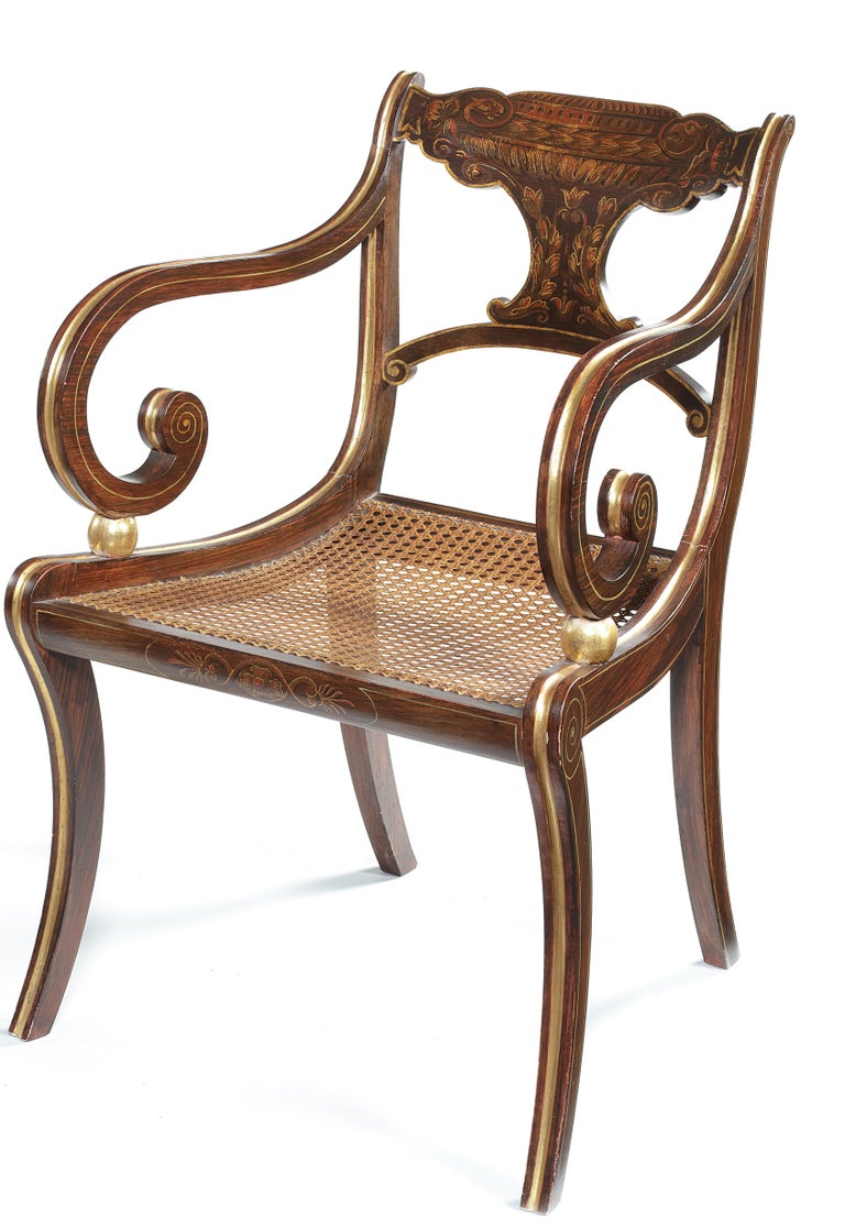 Faux Bois Eight 19th Century Regency Faux Rosewood Dining Chairs with Two Armchairs For Sale