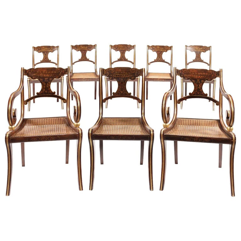 Eight 19th Century Regency Faux Rosewood Dining Chairs with Two Armchairs For Sale