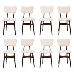 Eight 20th Century Light Crème Boucle Chairs, 1960s