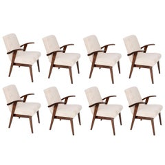 Eight 20th Century Vintage Light Cream Armchairs by Mieczyslaw Puchala, 1960s