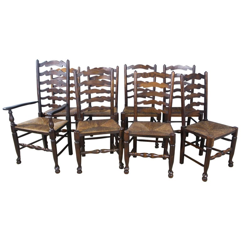 size 40 eaa6c a1759 Eight '7 and 1' Antique English Oak Ladderback Dining Chairs