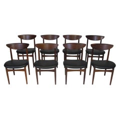 Eight '8' Kurt Ostervig Mid-Century Rosewood Dining Chairs in Black Leather