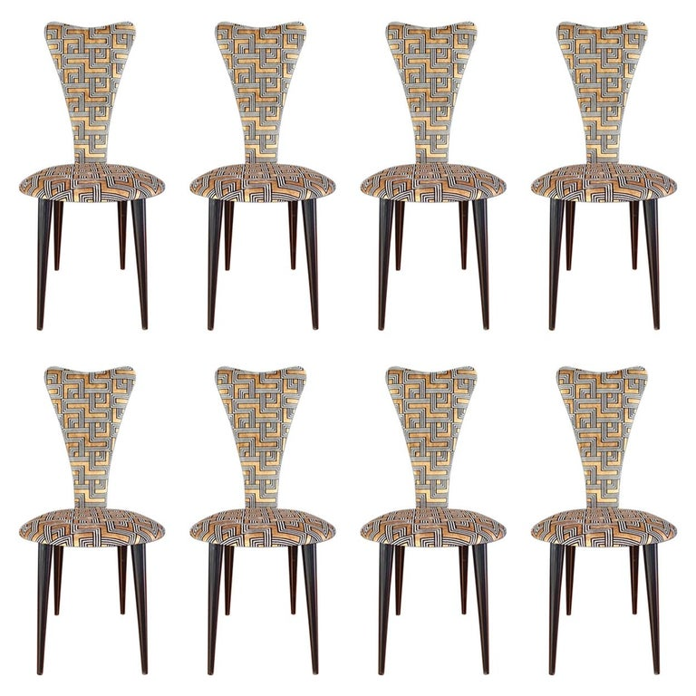 Eight '8' Mid-Century Modern Black Lacquered Legs by Umberto Mascagni, 1950s For Sale