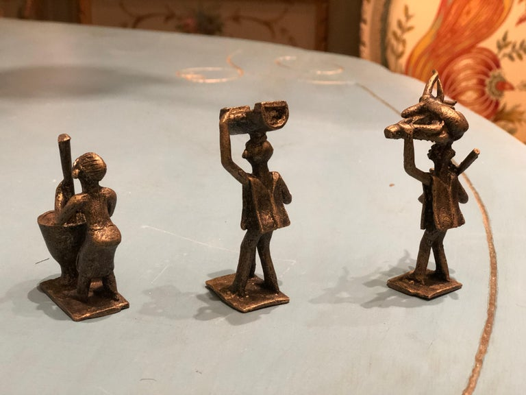 18th Century Eight Antique African Bronze Figures Representing Different Human Activities For Sale