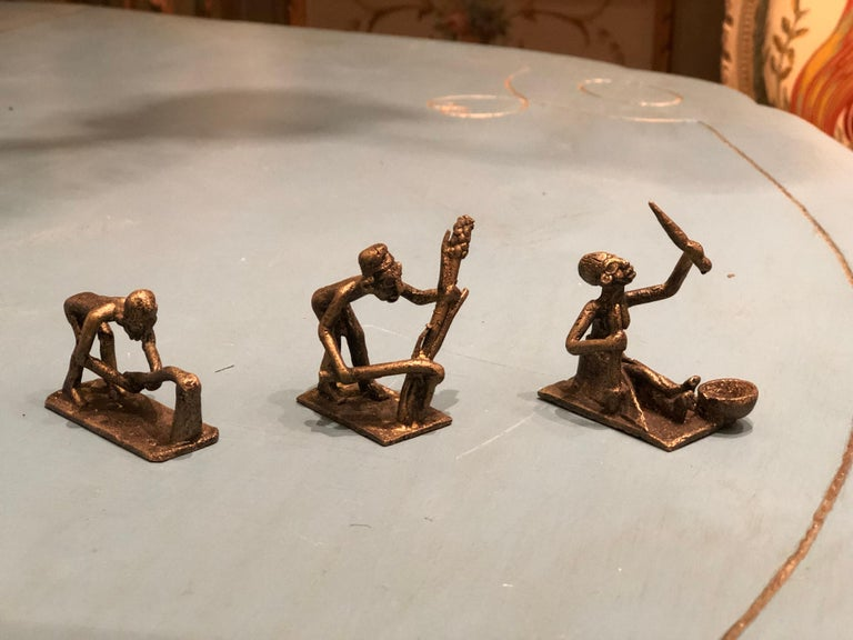 Eight Antique African Bronze Figures Representing Different Human Activities For Sale 1