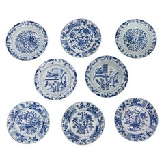 Eight Antique Blue and White Chinese Porcelain Dishes Made 18th Century