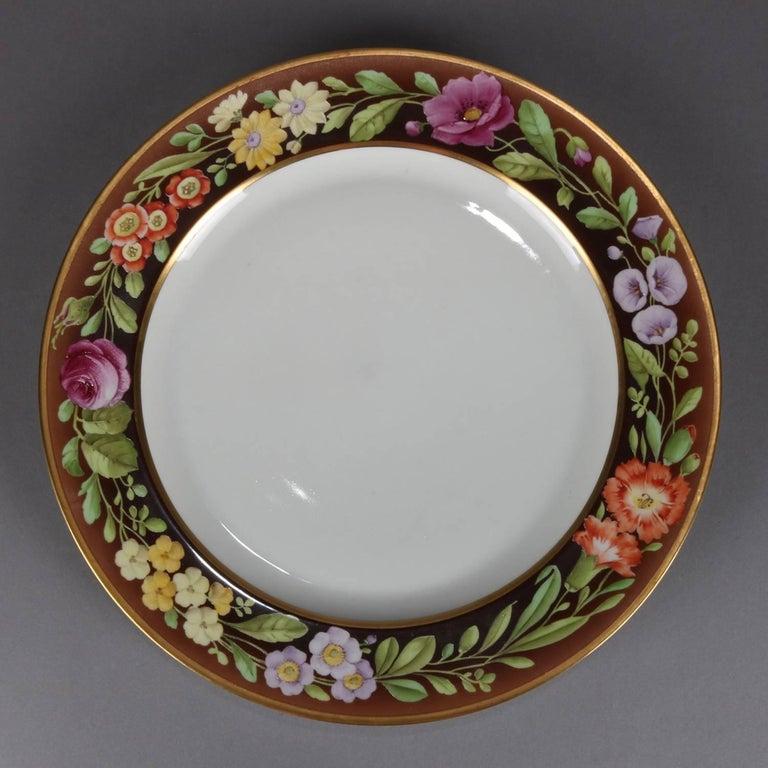 Eight Antique German Hand-Painted Bavaria Tirschenreuth Floral Dinner Plates