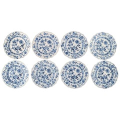 "Eight Antique Meissen ""Blue Onion"" Plates in Hand Painted Porcelain"
