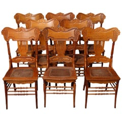 Eight Antique Oak Pressed Back & Cane Seat Heywood Wakefield Dining Chairs 20thC