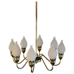 Eight-Arm Brass and Opaline Glass Chandelier by Fog & Mørup '2'