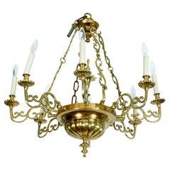 Eight-Arm Brass Chandelier