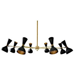 Eight-Arm Brass Chandelier with Ivory or Black Finish