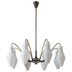 Eight-Arm Chandelier, circa 1960, Brass and Satin Glass