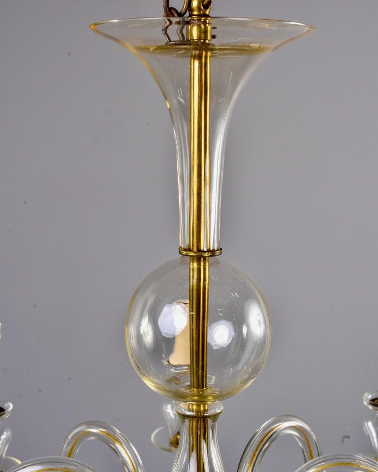 Eight-Arm Pale Amber Murano Glass Chandelier For Sale 3