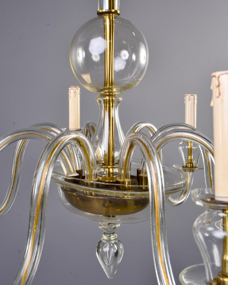 Eight-Arm Pale Amber Murano Glass Chandelier For Sale 4
