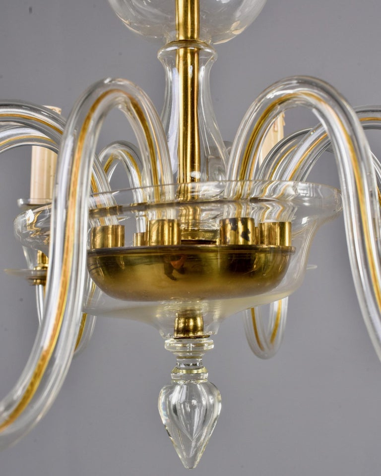 Eight-Arm Pale Amber Murano Glass Chandelier For Sale 5