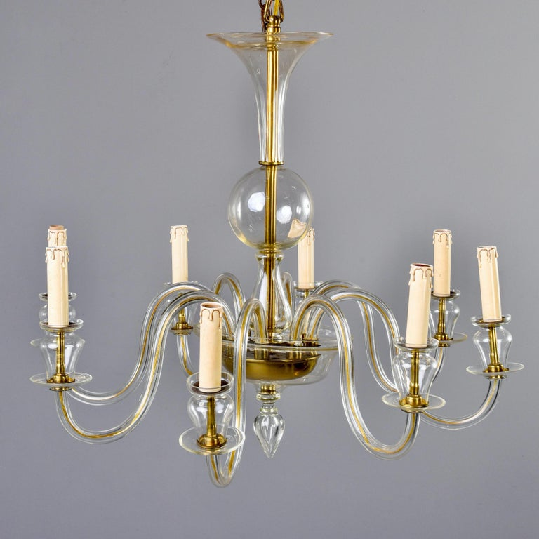 Mid-Century Modern Eight-Arm Pale Amber Murano Glass Chandelier For Sale