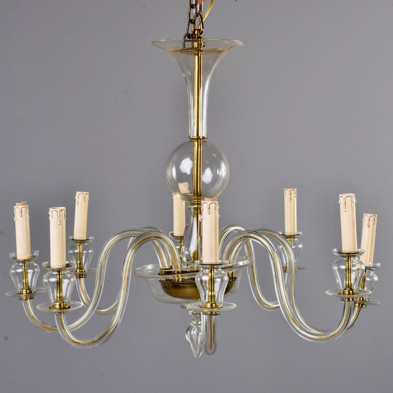 Italian Eight-Arm Pale Amber Murano Glass Chandelier For Sale