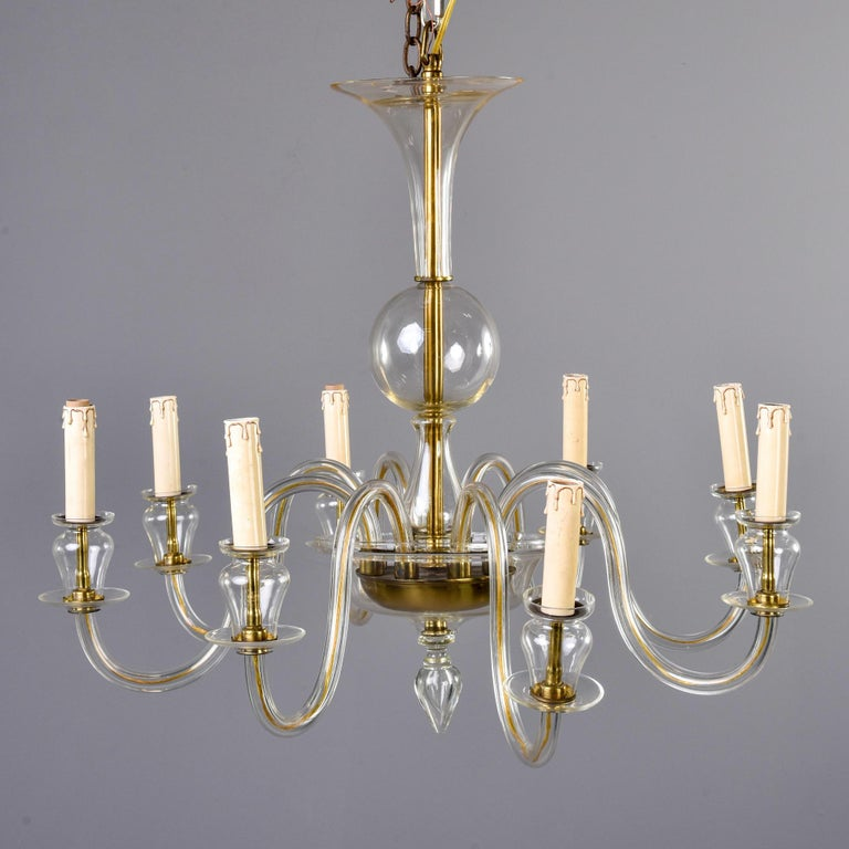 Eight-Arm Pale Amber Murano Glass Chandelier In Good Condition For Sale In Troy, MI