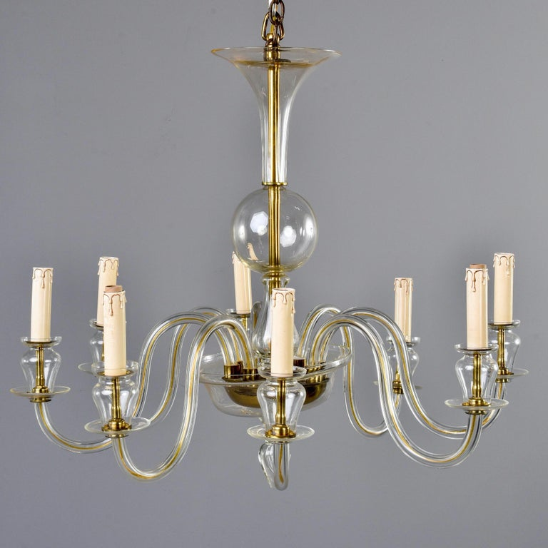 20th Century Eight-Arm Pale Amber Murano Glass Chandelier For Sale
