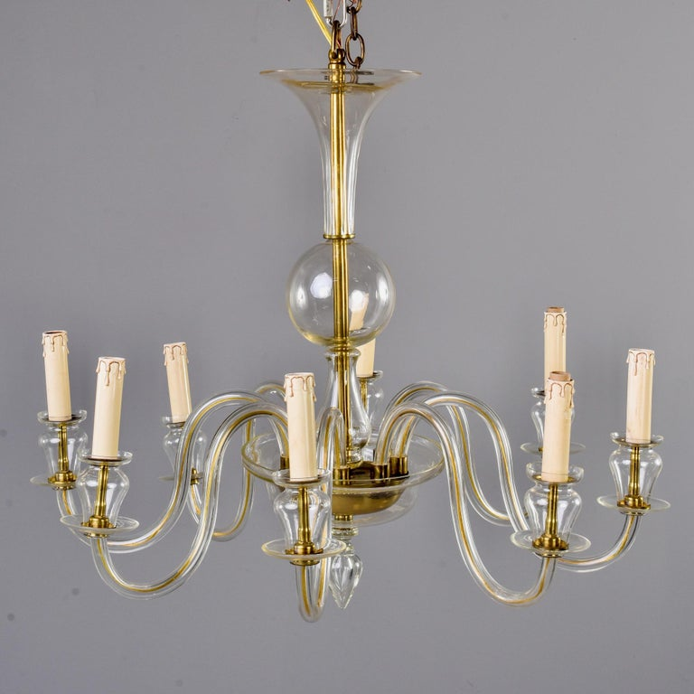 Brass Eight-Arm Pale Amber Murano Glass Chandelier For Sale