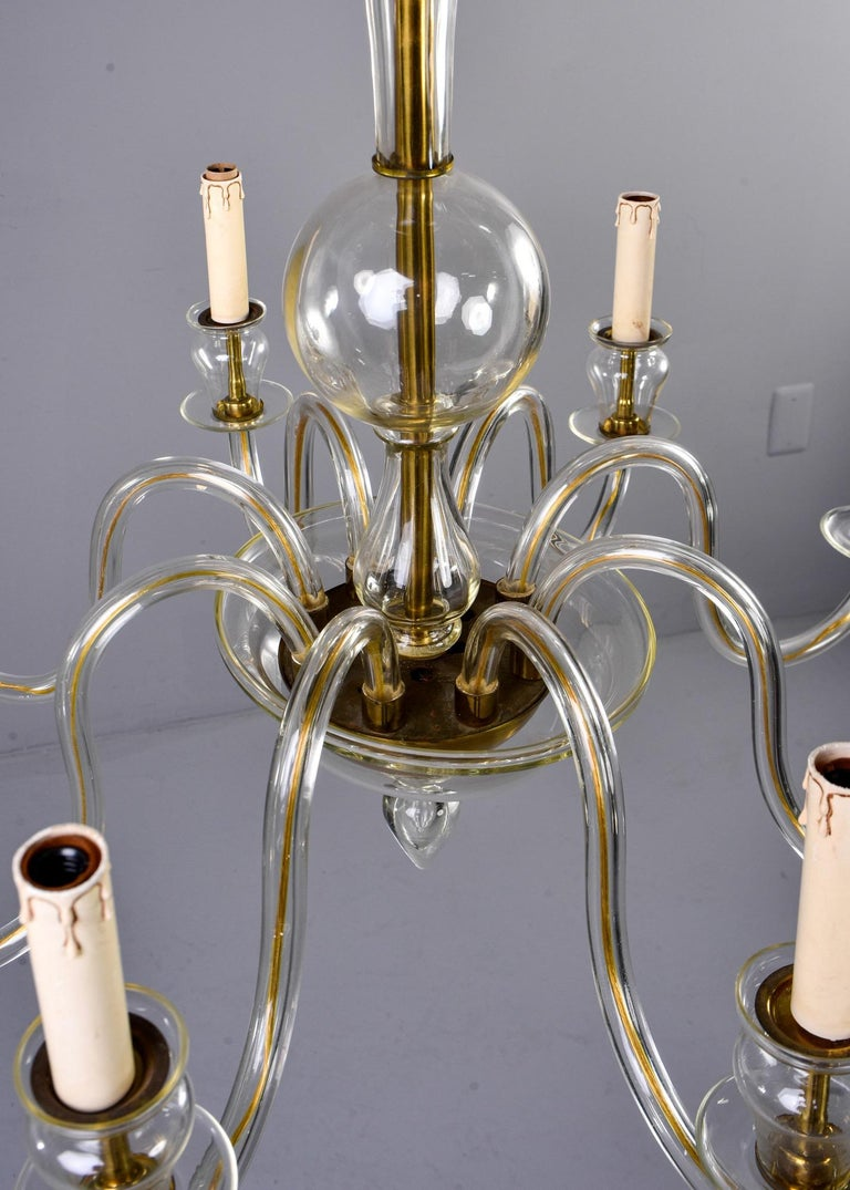 Eight-Arm Pale Amber Murano Glass Chandelier For Sale 2